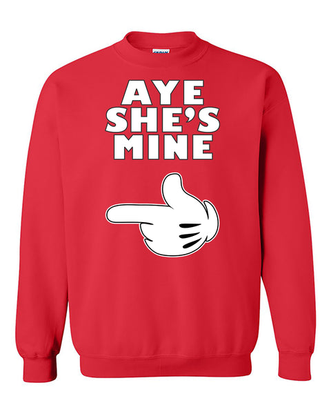 Aye She's Mine Mickey Hand Couples Valentine's Day Gift Crewneck Sweater