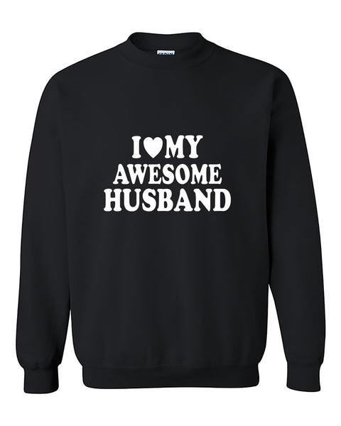 I Love My Awesome Husband Couples Valentine's Day Gift Crewneck Sweater