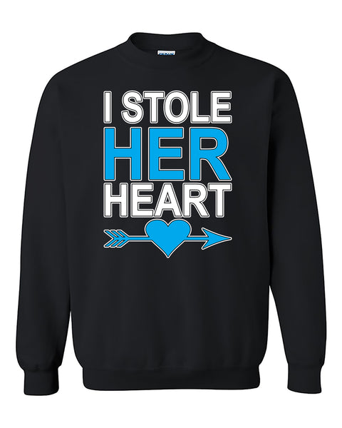 I Stole Her Heart Couples Valentine's Day Gift Crewneck Sweater