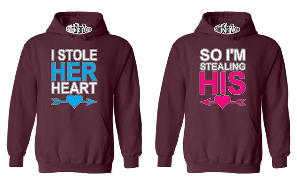 I Stole Her Heart, So I'm Stealing His Heart Couples Unisex Hoodies