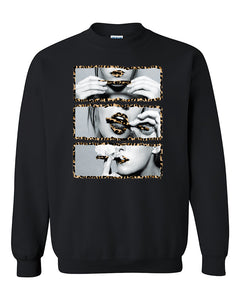 Blunt Roll Cheetah Leopard Lips Joint 420 Joint Weed Smoker Shirts Crewneck Sweater