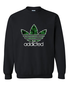 Addicted Pot Leaf pattern 420 Weed Marijuana smokers Crewneck Sweater