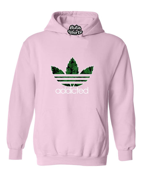 Addicted Pot Leaf pattern 420 Weed Marijuana smokers Unisex Hoodie