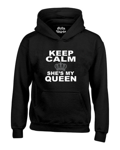 Keep Calm She's My Queen Couples Matching Valentine's Day Gift Couples Unisex Hoodie