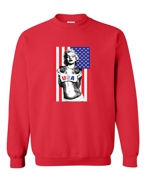 Marilyn Monroe USA Flag American Flag Monroe Crewneck Sweater