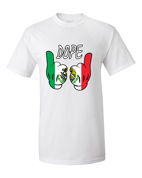 cartoon-hands-dope-mexican-flag-pattern-t-shirt
