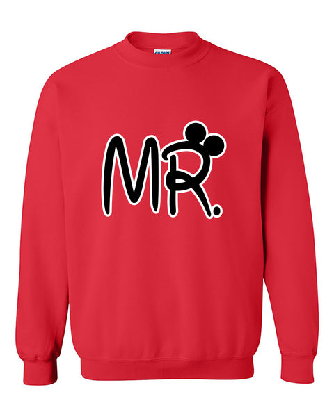 Mr Cartoon Ears Copules Matching Love Crewneck Sweater