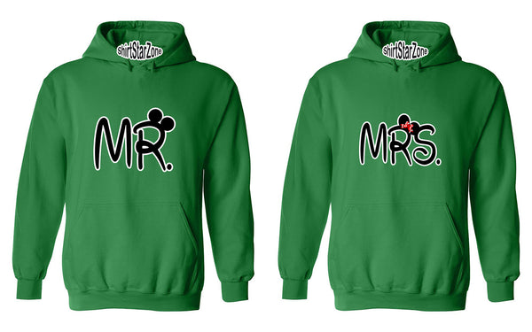Mr and Mrs Cartoon Ears Couples Unisex Hoodies