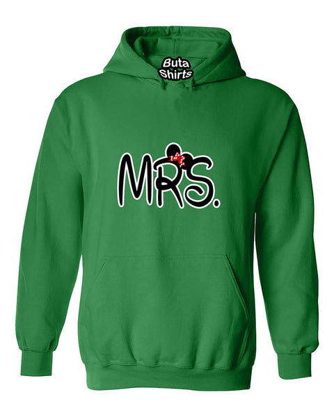 Mrs Cartoon Ears Copules Matching Love Unisex Hoodie