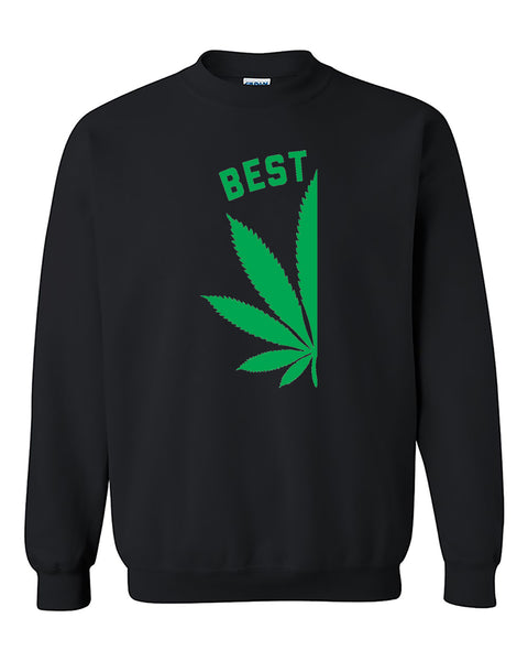Best Buds Pot Leaf Left Couples Matching Smoking Couples Crewneck Sweater