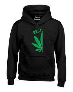 Best Buds Pot Leaf Left Couples Matching Smoking Couples Unisex Hoodie