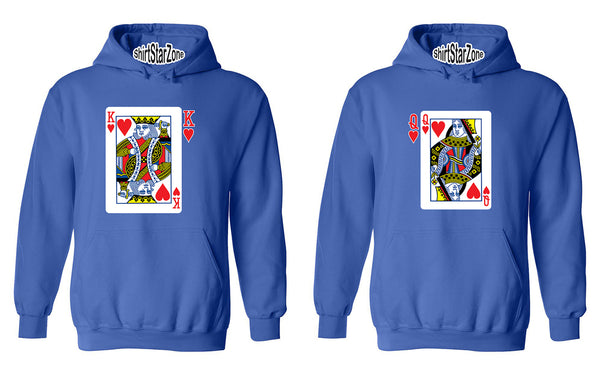 King and Queen Playing Cards Couples Unisex Hoodies