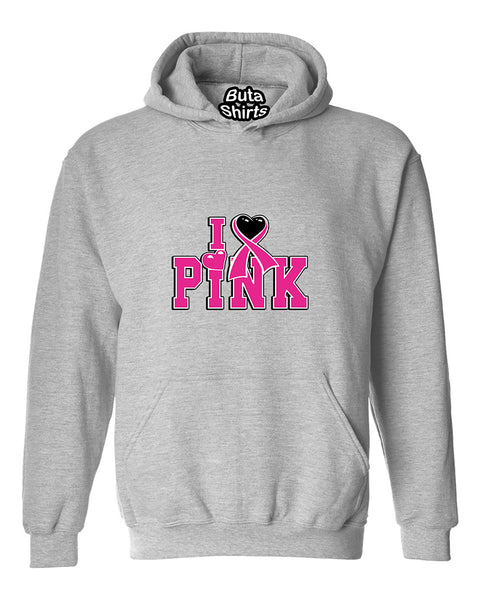 I Love Pink Breast Cancer Awarenesss Unisex Hoodie