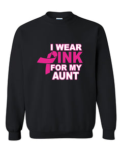 I Wear Pink for My Aunt Breast Cancer Awareness Crewneck Sweater