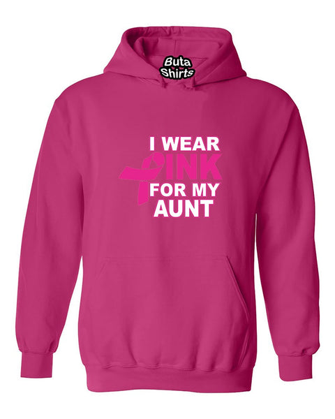 I Wear Pink for My Aunt Breast Cancer Awarenesss Unisex Hoodie