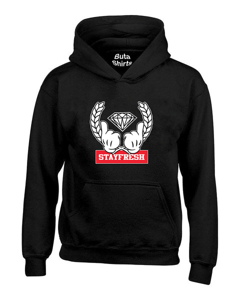 Cartoon Hands Stay Fresh Diamon Unisex Hoodie