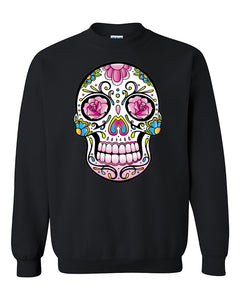 Pink Colorful Shugar Skull Rose Eyes Skull Head Halloween Day of Dead Crewneck Sweater