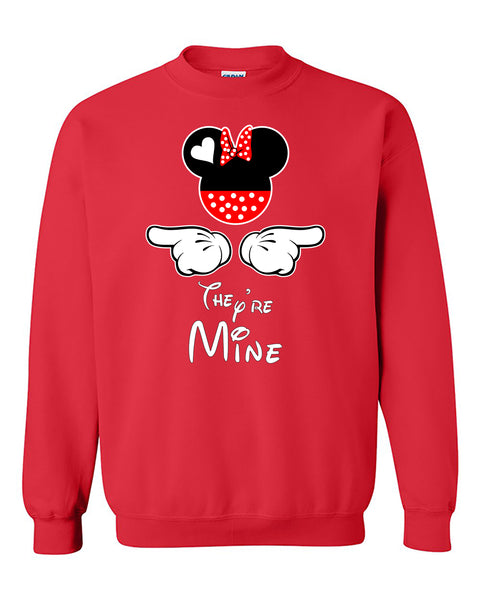 Cartoon Character & Hands They're Mine Mom's Crewneck Sweater