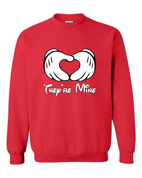 Mickey Hands They're Mine for Parents Mickey Writing Crewneck Sweater