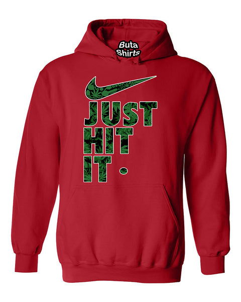 Just Hit It Weed Pattern Funny Marijuana Weed Smoking Unisex Hoodie
