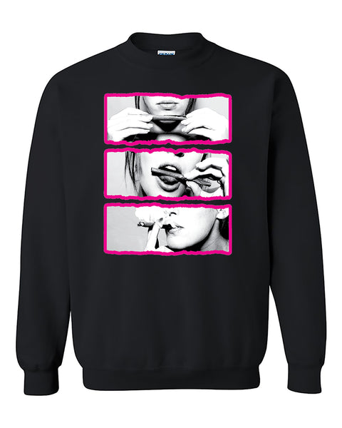 Blunt Roll Pink Lips Joint 420 Joint Weed Smoker Shirts Crewneck Sweater