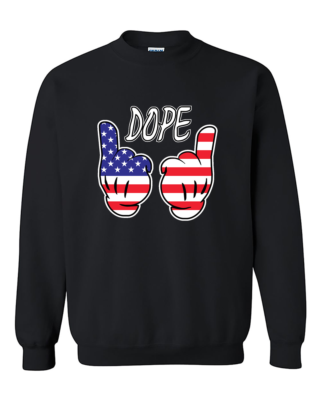 Mickey Hand Dope USA Flag Hand American Flag Independence day Crewneck Sweater