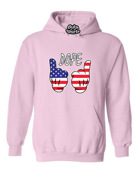 Cartoon Hand Dope USA American Flag Hand Independence day Unisex Hoodie