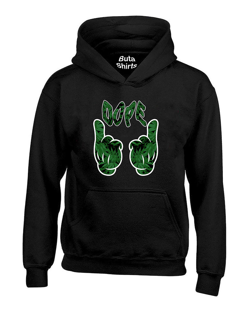 Cartoon Hand Dope Weed Pattern Marijuana 420 Weed Smokers Unisex Hoodie