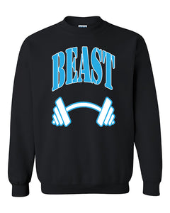 Beast BLUE Couples GYM Workouts Valentine's Day Gift Crewneck Sweater