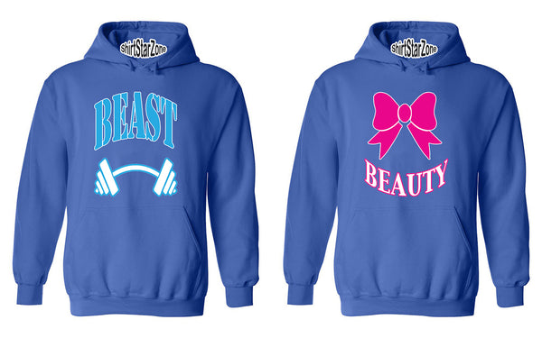 Beast BLUE Beauty PINK GYM Workouts Couples Unisex Hoodies