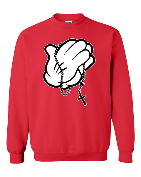 Mickey Hands Praying Relicious Christian Crewneck Sweater