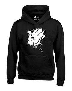 Cartoon Hands Praying Relicious Christian Unisex Hoodie