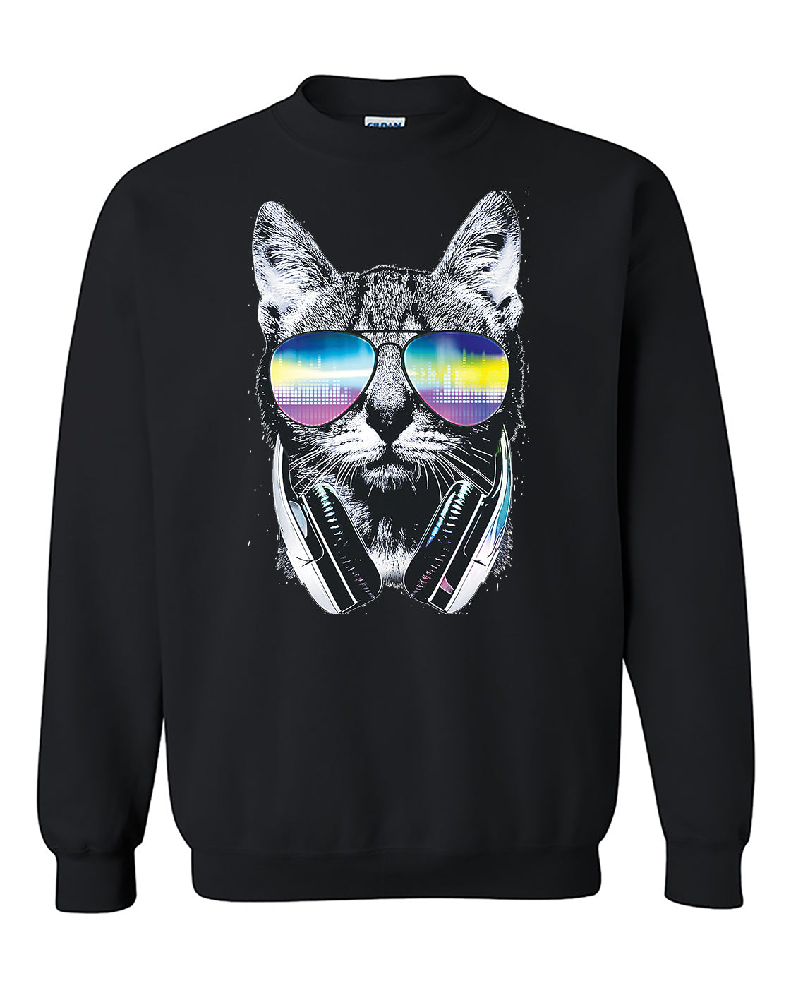 Cool Cat with Headphones and Sunglasses Animal Lover Crewneck Sweater