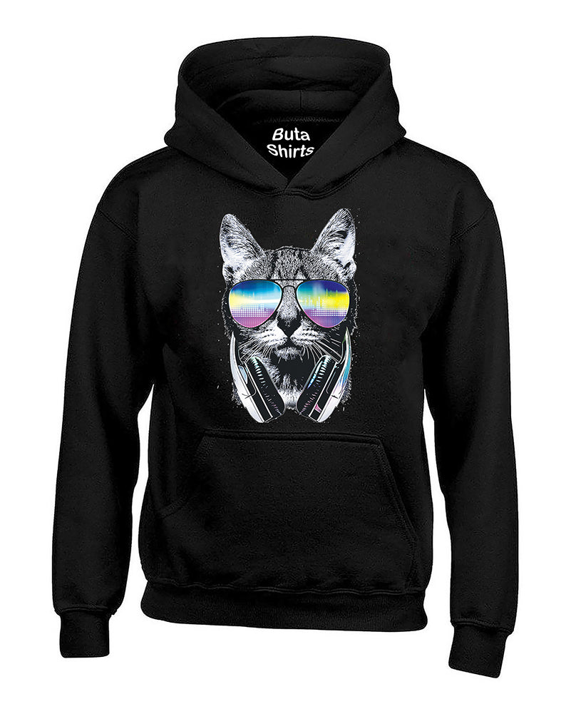 Cool Cat with Headphones and Sunglasses Animal Lover Unisex Hoodie