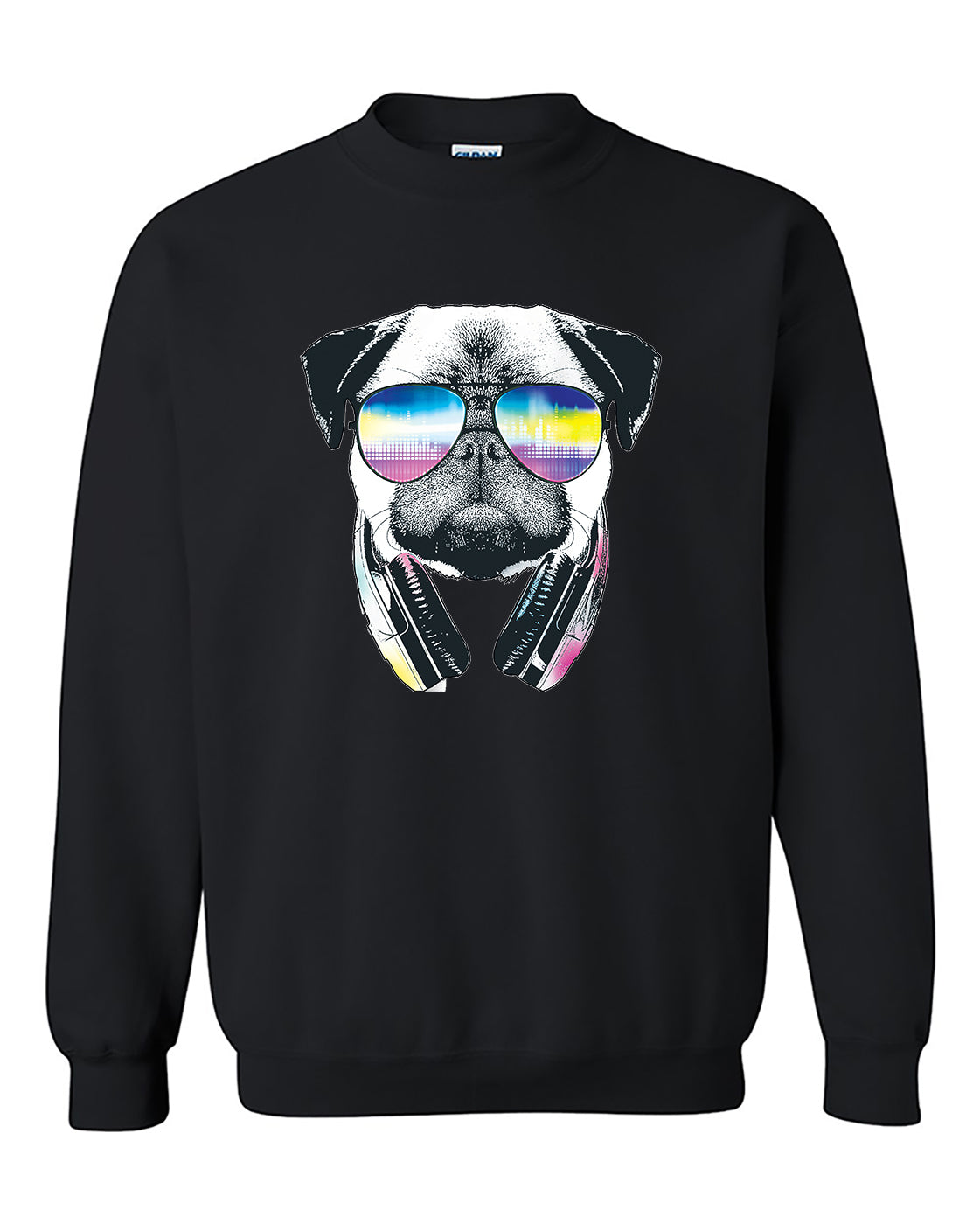 Cool Pug Music Revision headphones and Sunglasses Crewneck Sweater