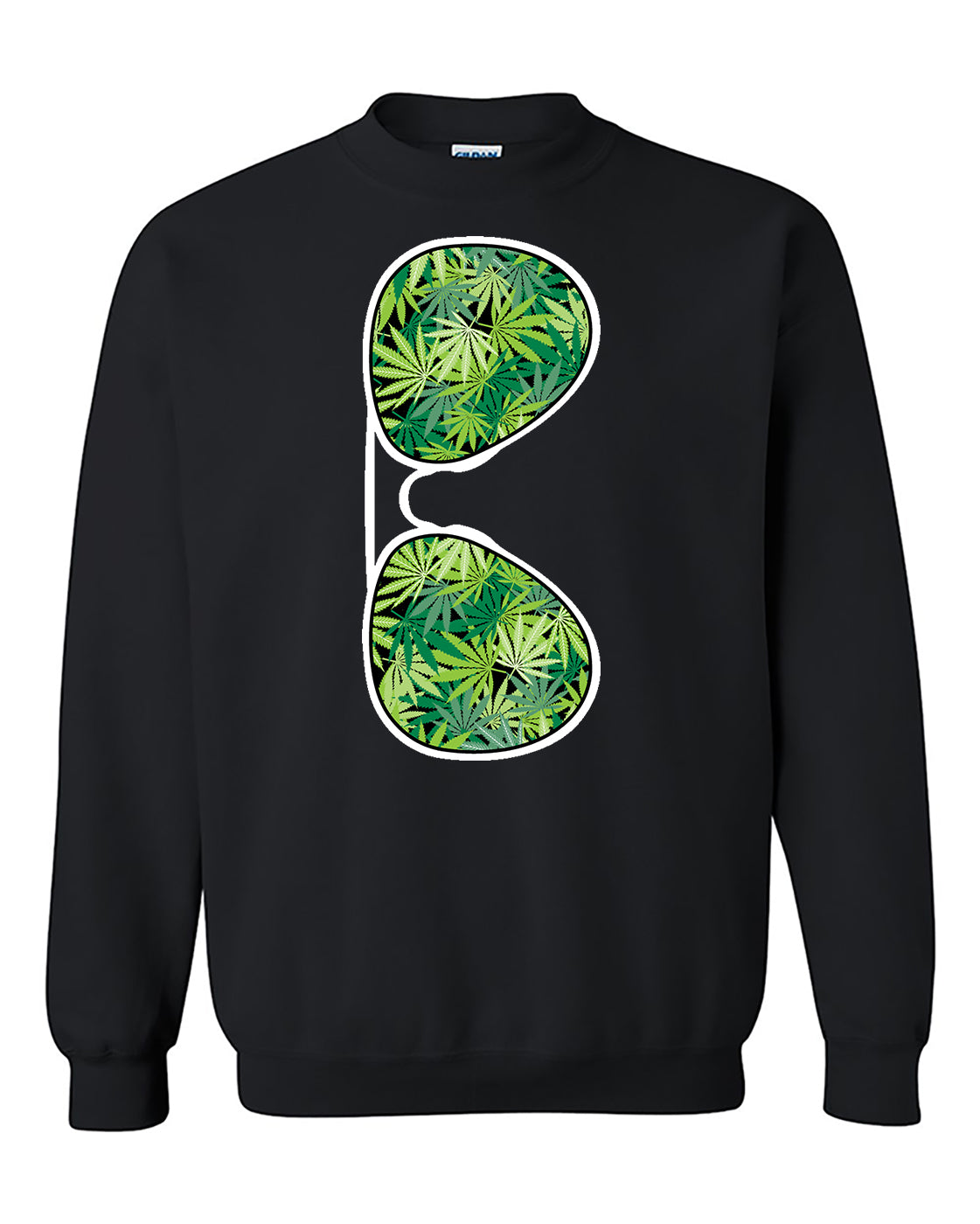 Sunglasses Weed Pattern 420 Marijuana Smoking Crewneck Sweater