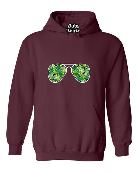 Sunglasses Weed Pattern 420 Marijuana Smoking Unisex Hoodie