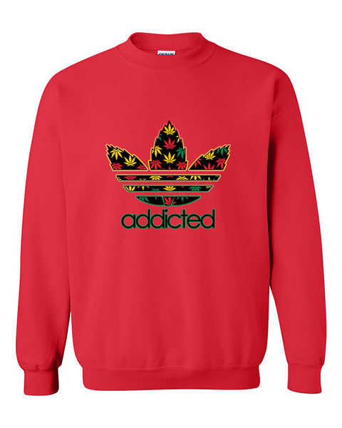 Addicted Weed Leaf pattern 420 Weed Marijuana smokers Crewneck Sweater