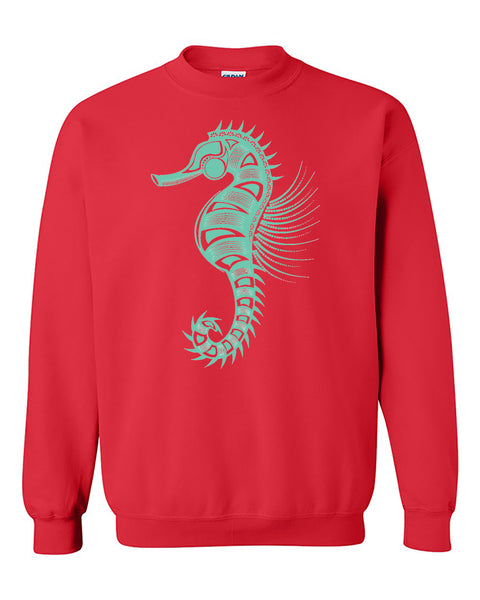 Seahorse tribal Cool Crewneck Sweater
