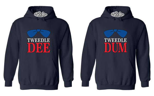 Tweedle Dum RED Tweedle Dee RED Funny Couples Unisex Hoodies