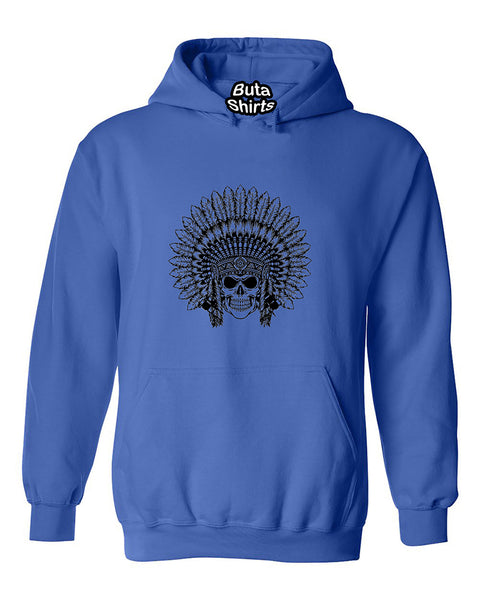 Indian Sugar Skull Headdress Native American Cheaf Head Unisex Hoodie