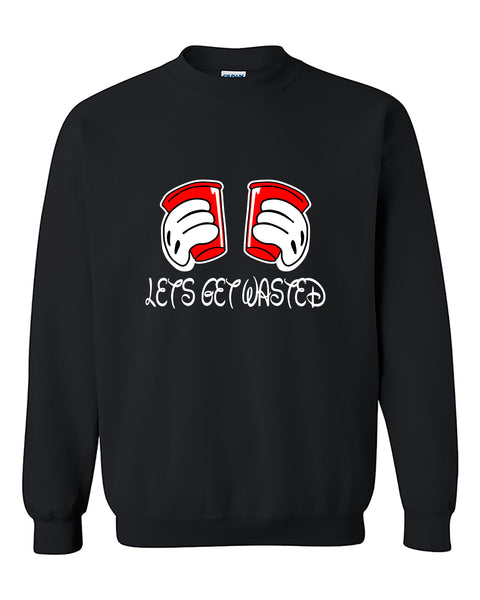 Let's Get Wasted Mickey Hands Beer Party Funny Humor Crewneck Sweater