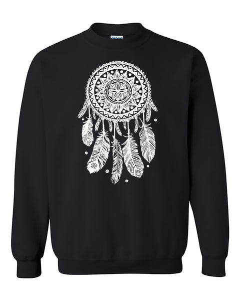 Dream Catcher White Feathers Native American Indian Crewneck Sweater