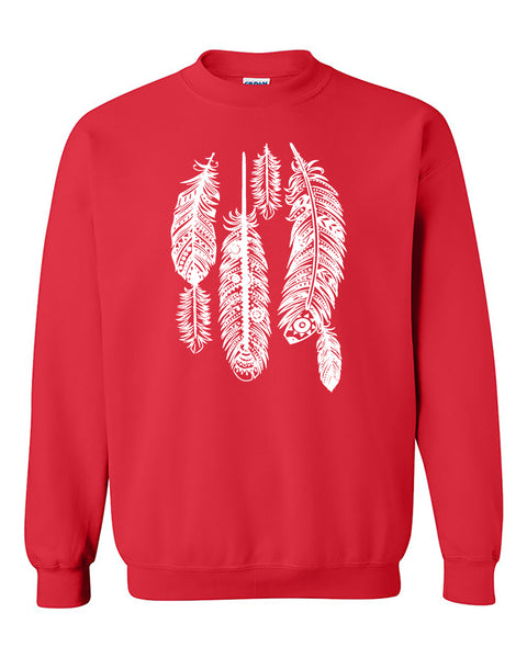 Feathers White Native American Indian Tribal Crewneck Sweater