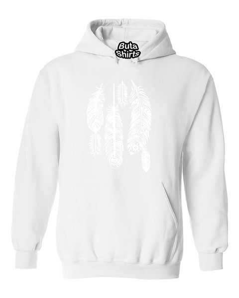 Feathers White Native American Indian Tribal Unisex Hoodie