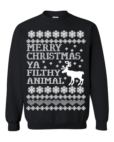 New Merry Christmas Ya Filthy Animal Ugly Christmas Seater Christmas Sweatshirt gift Home Alone Crewneck Sweater