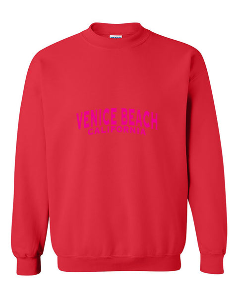 Venice Beach Pink Unisex Fasion California Crewneck Sweater