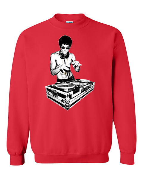 DJ Bruce Lee Kungfu Legend Party Funny Humours Crewneck Sweater