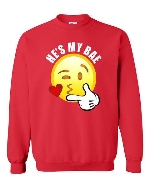He's My Bae Emoji Couples Loves Valentine's Day Gift Crewneck Sweater