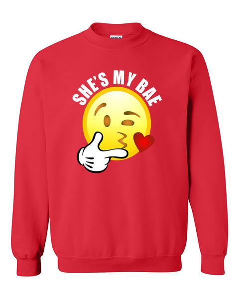 She's My Bae Emoji Couples Loves Valentine's Day Gift Crewneck Sweater